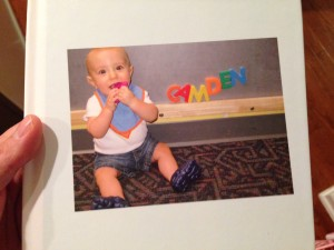 This is a photo book my wife just made for Cam that chronicles his first year on the planet.